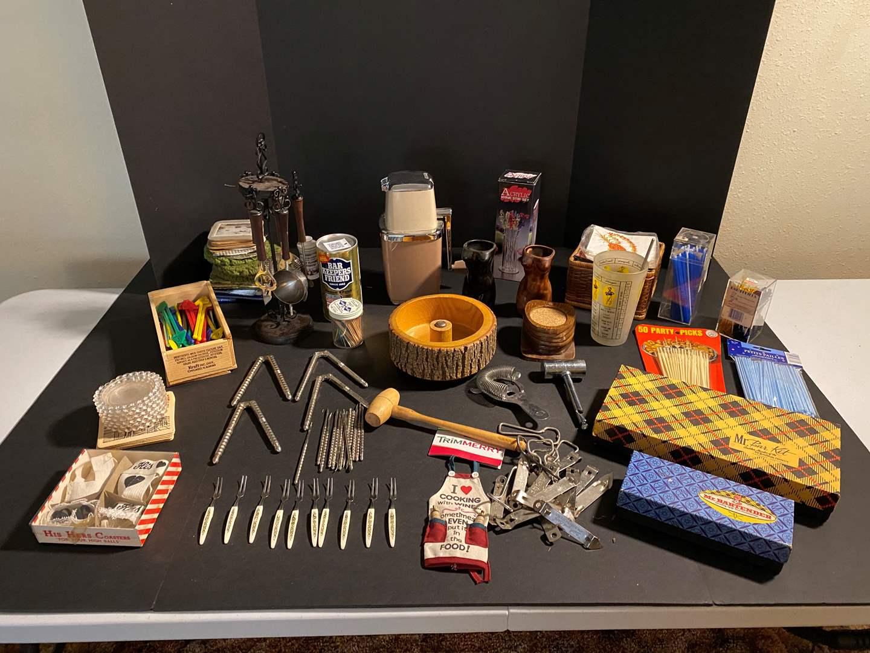 Lot # 42 - Vintage Bar Items: Mr. Bartender, Ice Crusher, Coasters, Stir Sticks & More.. (main image)