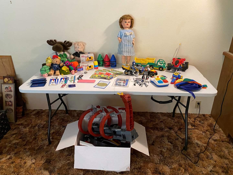 Lot # 105 - Toys, Hot Wheels Track, Dolls, Kool-Aid Comics, Kids Office Supplies & More.. (main image)