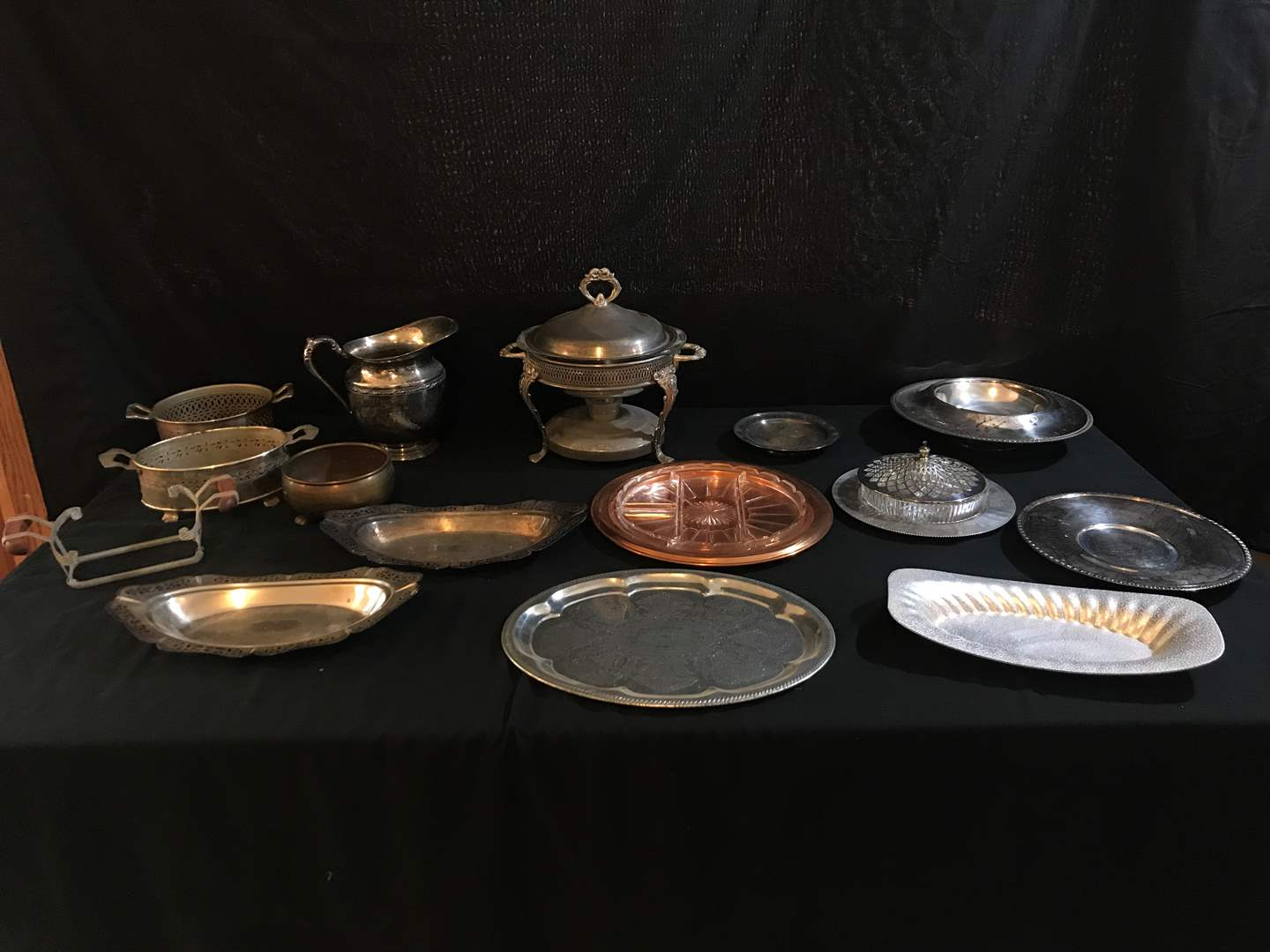 Lot # 77 - Silver Plated & Stainless Steel Items: Snack Trays, Pyrex Dish in Warming Stand & Drink Pitchers (main image)