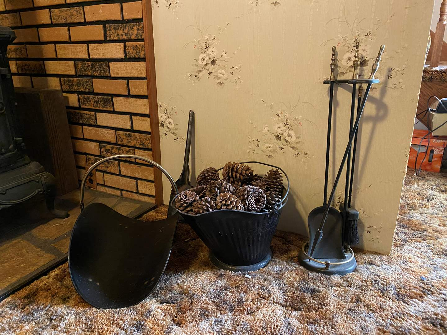 Lot # 114 - Vintage Fire Place Tools, Scuttle Bucket & Firewood Holder (main image)
