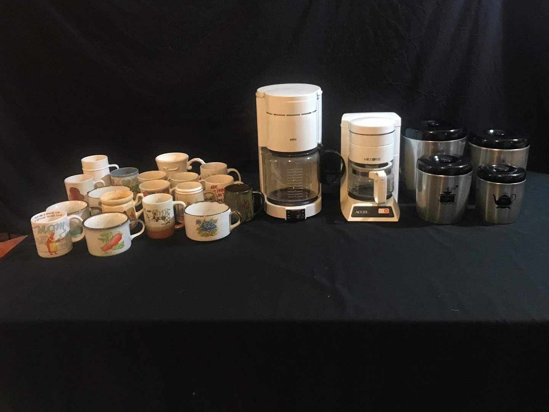 Lot # 79 - Braun Coffee Maker, Small Mr. Coffee Maker, Coffee Mugs & Canisters  (main image)