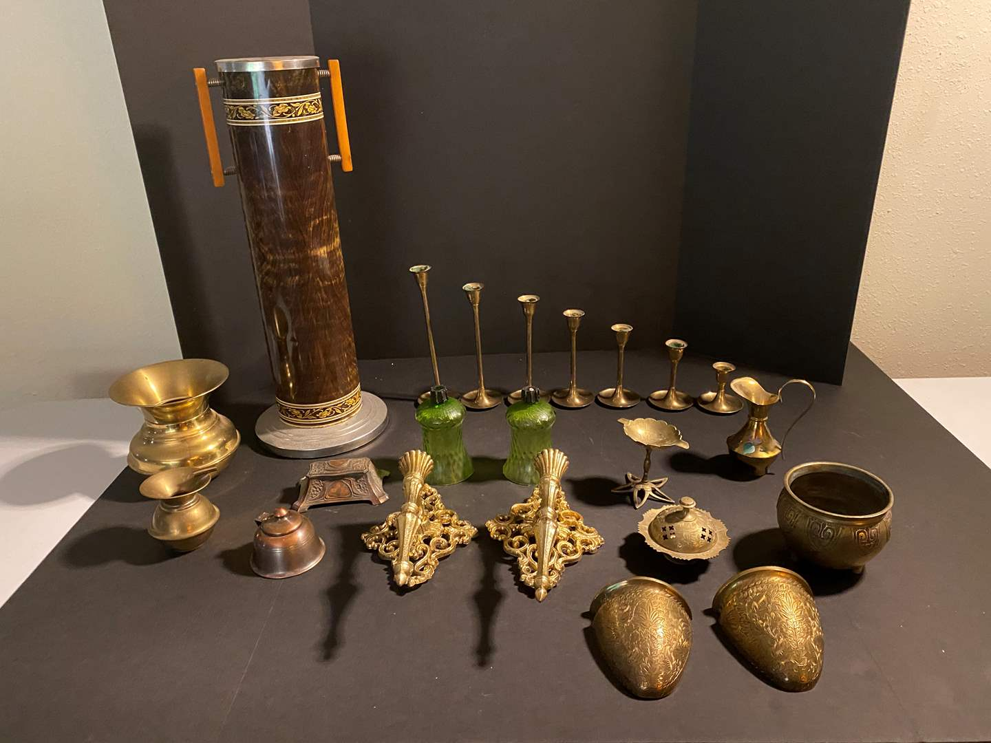 Lot # 48 - Tall Vintage Ashtray, Brass Candle Stick Holders, Brass Ashtrays, Brass Spittoon & More.. (main image)