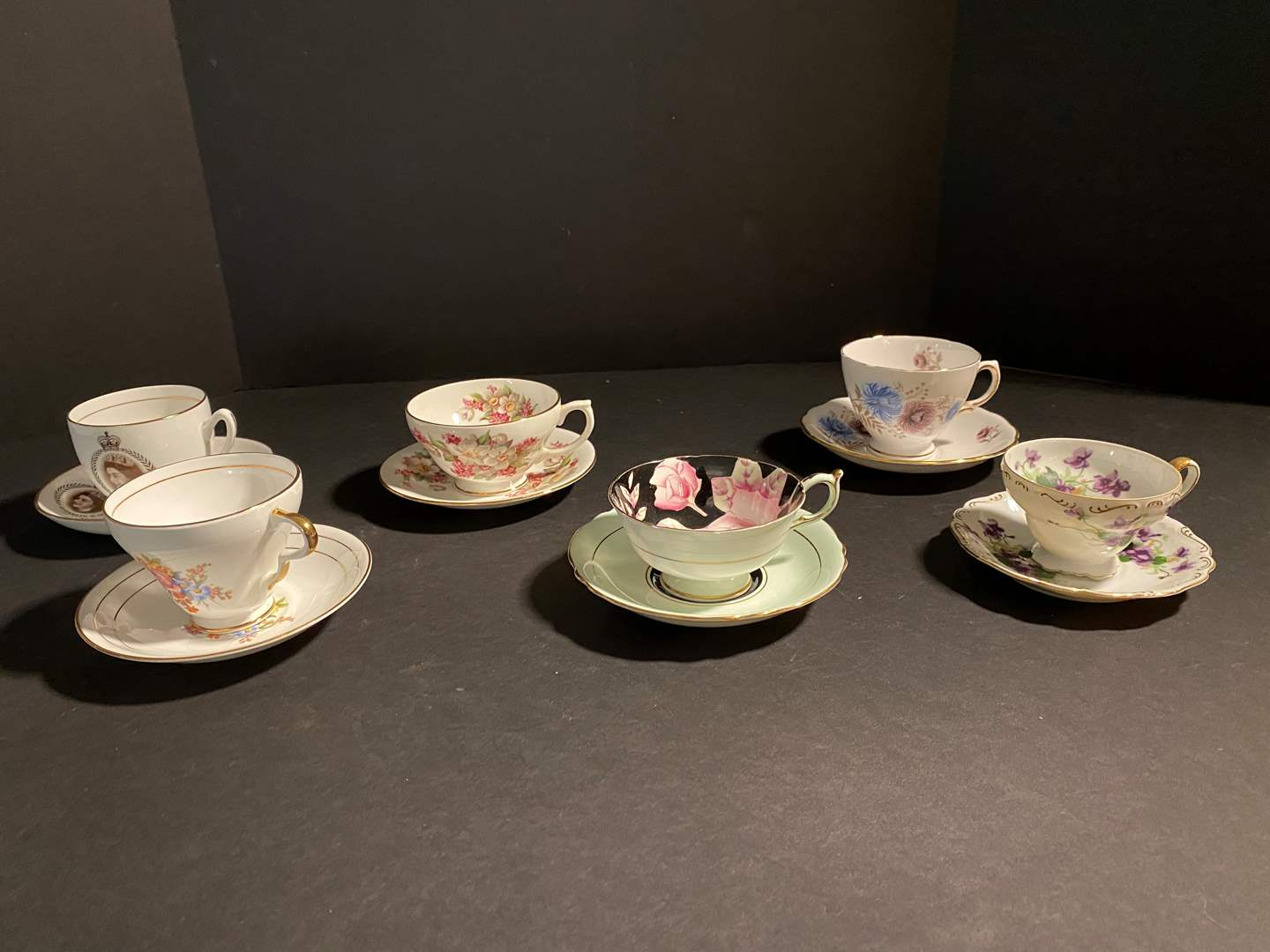 Lot # 117 - Six Teacups & Saucers - See Pictures for Brands (main image)