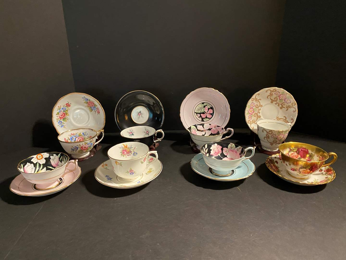Lot # 120 - Eight Teacups & Saucers w/Holders - See Pictures for Brands (main image)
