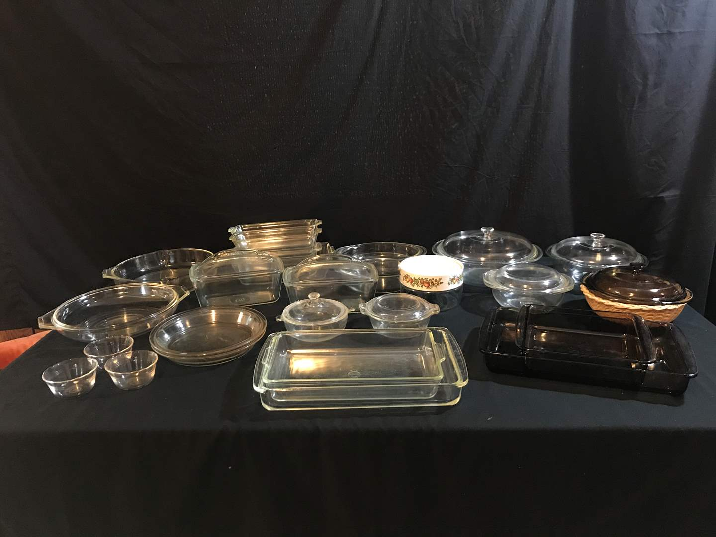 Lot # 82 - Selection of Pyrex Baking Dishes: Bread Dishes, Casserole Dishes, Pie Plates & Some Other Misc. Glass (main image)
