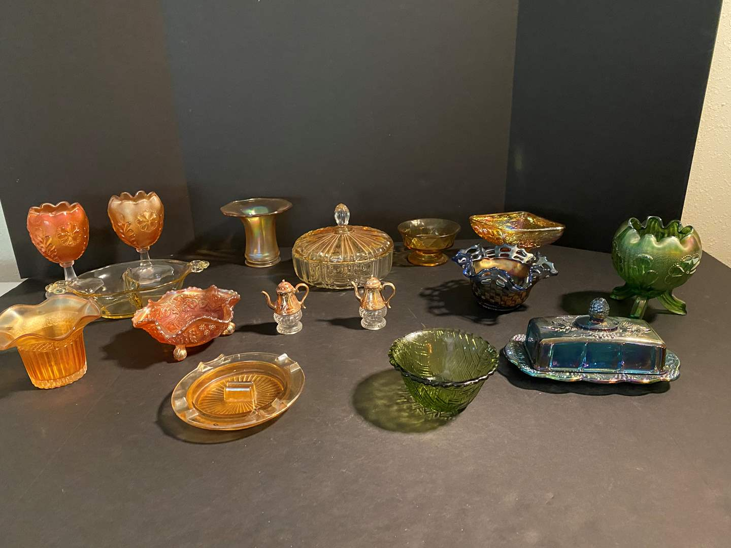 Lot # 127 - Nice Collection of vintage Glassware: Carnival Glass, Iridescent, Amber & More.. (main image)