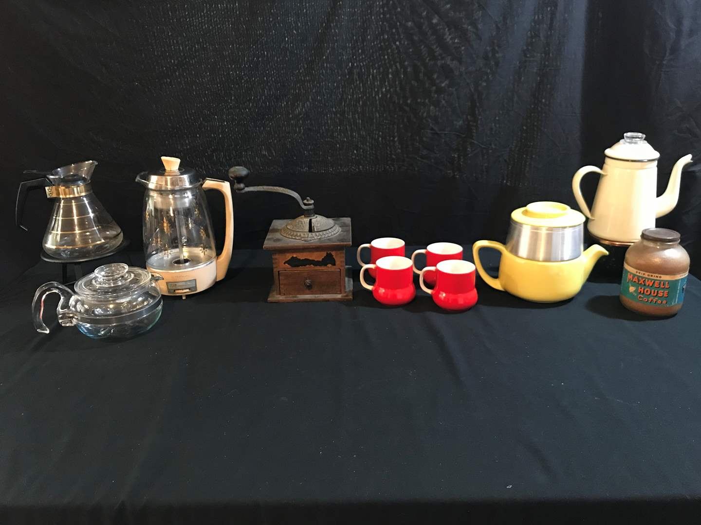 Lot # 83 - Vintage Pyrex Coffee Pot, Vintage Imperial Coffee Grinder, Coffee Mugs, & More.. (main image)