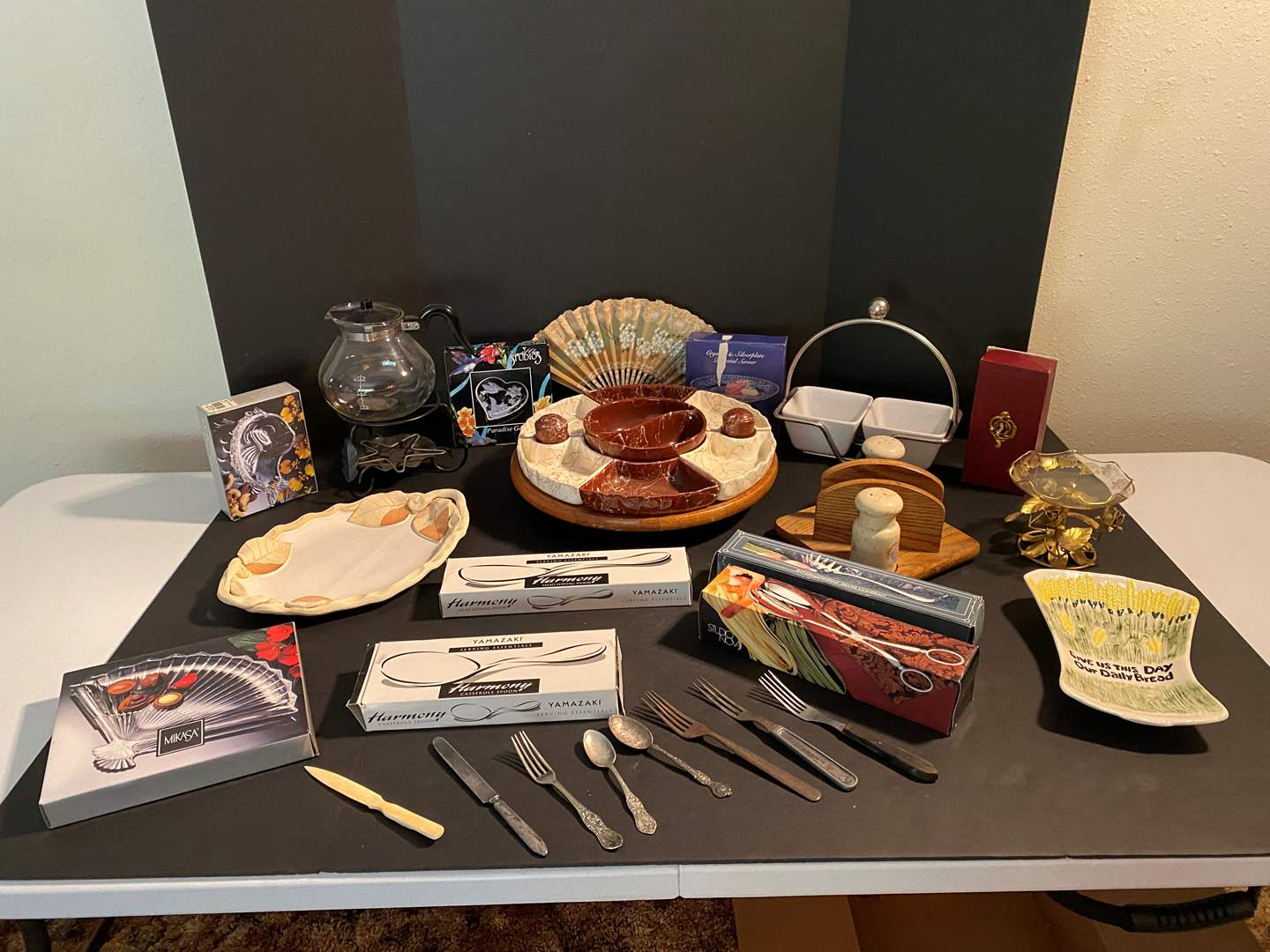 Lot # 130 - Misc. Selection of Vintage & Modern Items: Snack Tray, Flatware, Dishes & More. (main image)