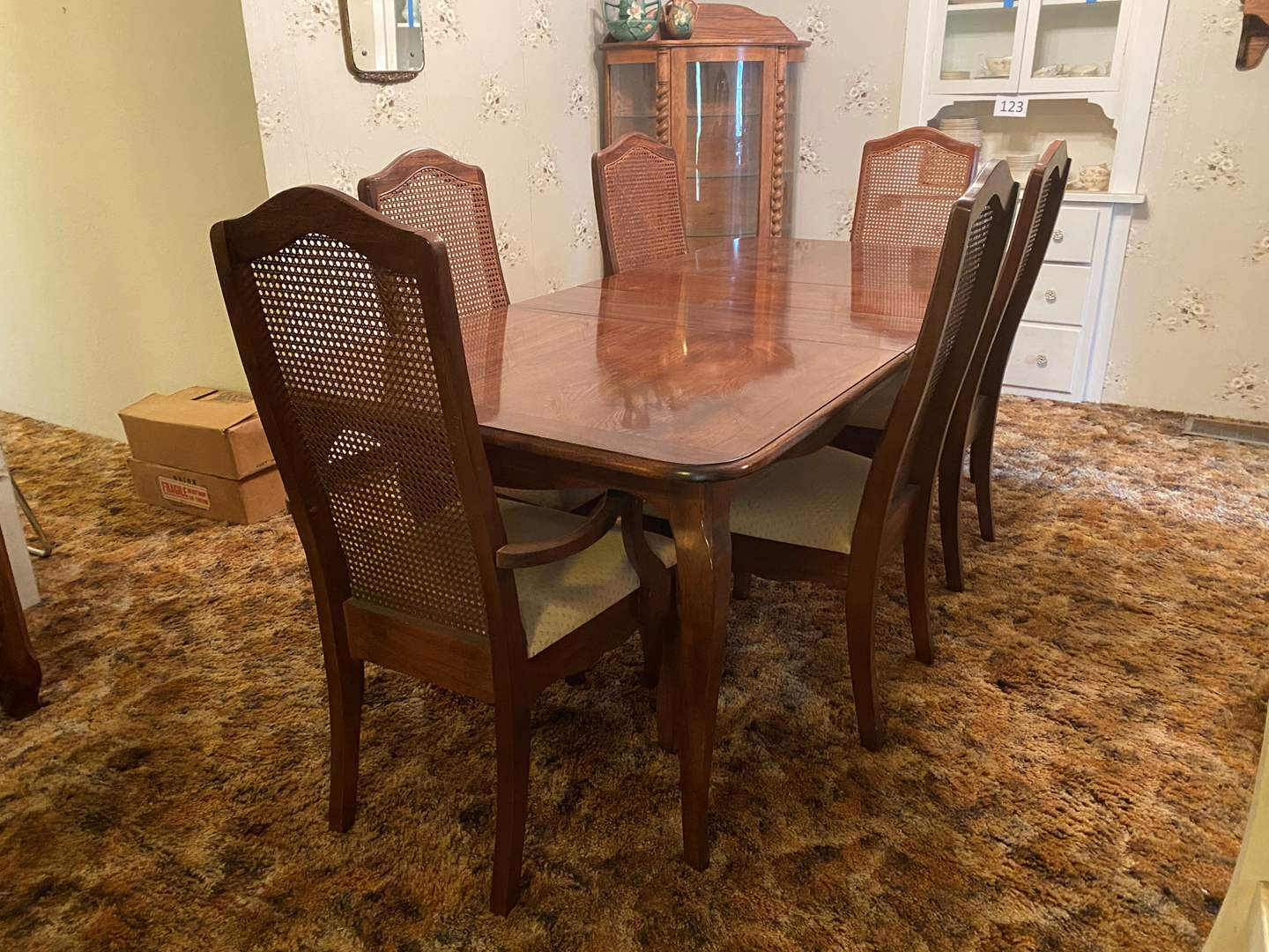 "Lot # 131 - Nice Vintage Dining Room Table w/6 Cane Back Chairs & 2 - 12"" Leaves  (main image)"