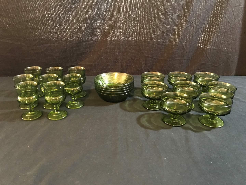 Lot # 85 - Vintage Green Glassware  (main image)