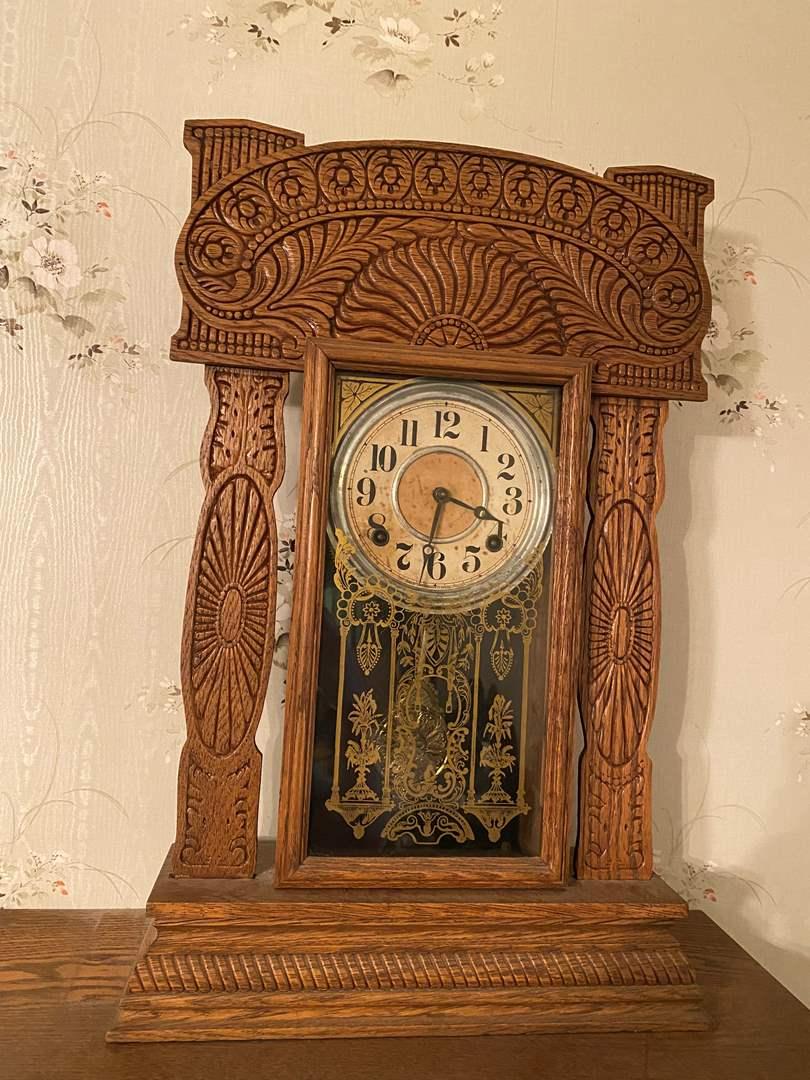 Lot # 134 - Antique Oak E.Ingrahm Mantle Clock (main image)