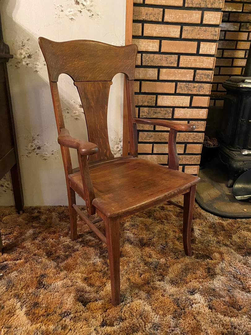 Lot # 141 - Antique Oak Arm Chair  (main image)