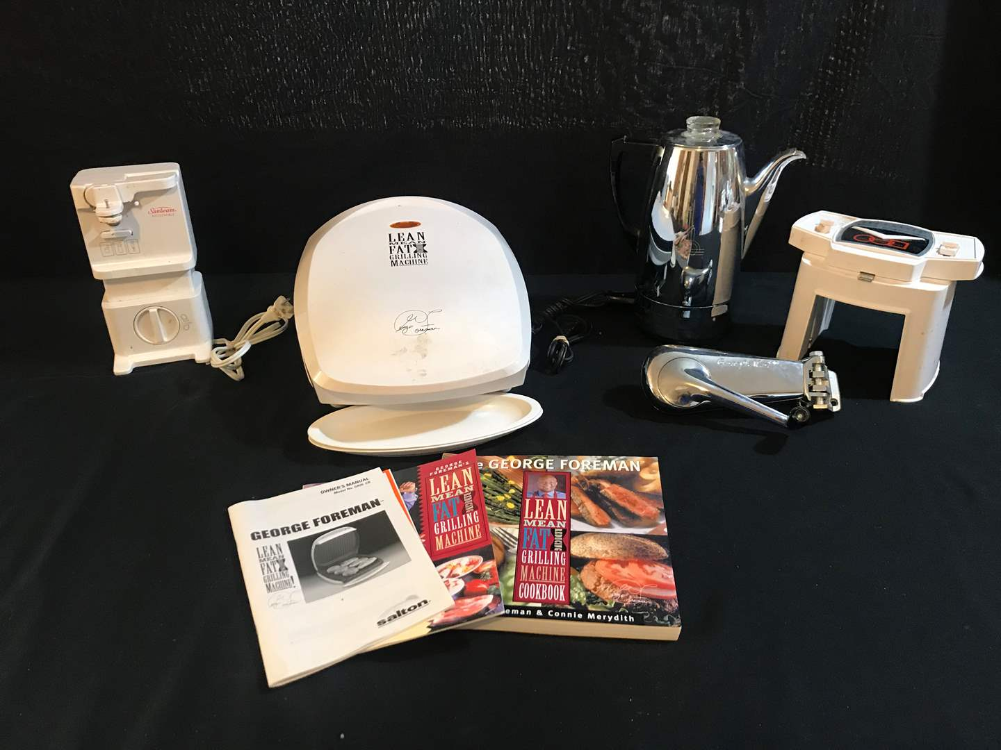 Lot # 89 - George Foreman Grill, Can-o-Mat, Veg-o-matic, Sun Beam Can Opener & Electric Coffee Pot (main image)