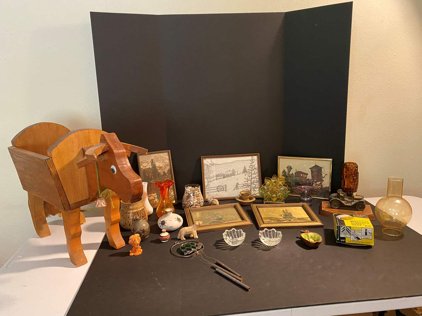 Lot # 144 - Wall Art, Wood Cow Magazine Holder, Small Vases, Wind Chimes & More.. (main image)