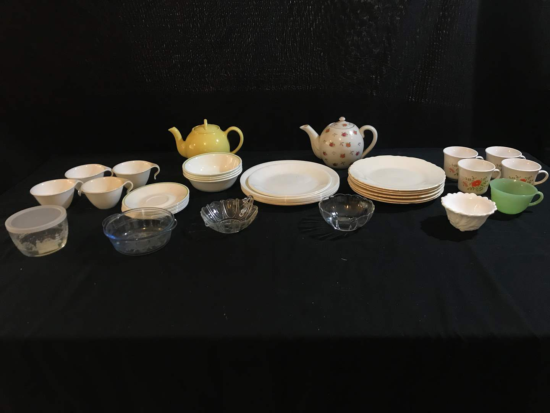 Lot # 90 - Misc. Plates & Bowls (Most Corelle), Other Misc. Glass Bowls & 2 Teapots  (main image)