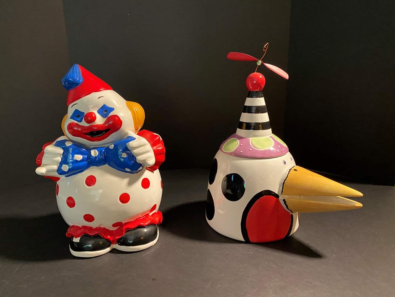 """Lot # 148 - Vintage Clown Cookie Jar & """"Lotus"""" Cookie Jar (main image)"""