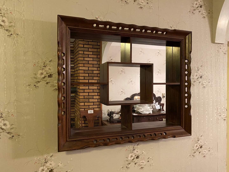Lot # 150 - Vintage Wood Mirror/Knickknack Rack  (main image)