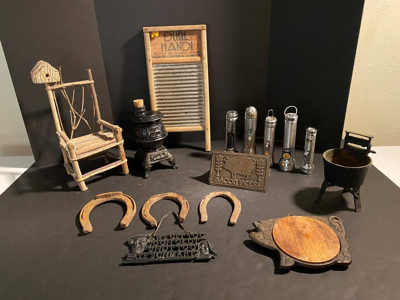 Lot # 156 - Vintage Bacon Press, Horse Shoes, Flashlights, Cast Iron Wash Tub, Wash Board & More.. (main image)