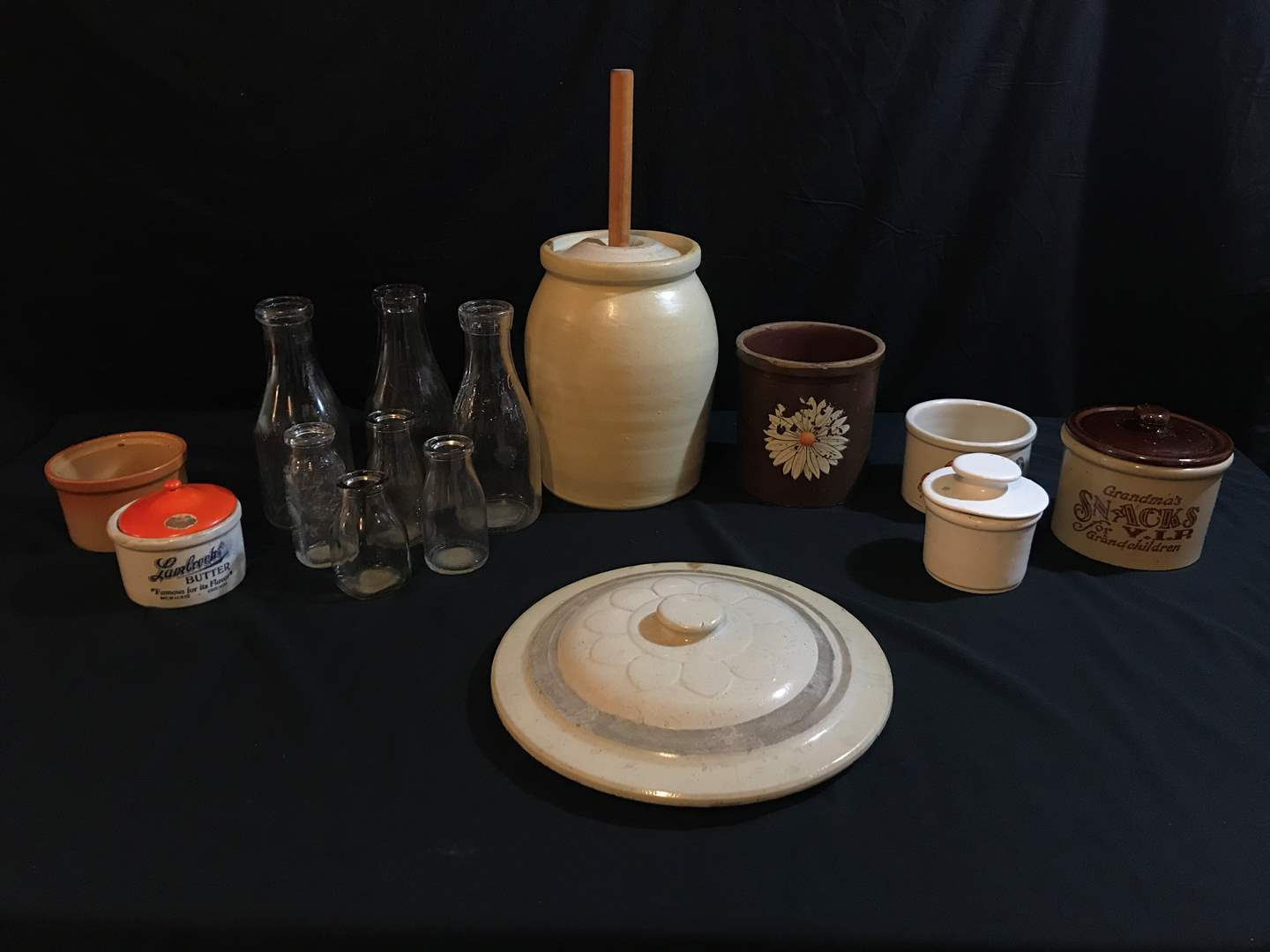 Lot # 95 - Vintage Butter Churn, Vintage Milk Bottles, Stoneware Bowls, Crock Lids & Butter Jar (main image)