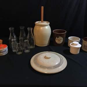 Auction Thumbnail for: Lot # 95 - Vintage Butter Churn, Vintage Milk Bottles, Stoneware Bowls, Crock Lids & Butter Jar