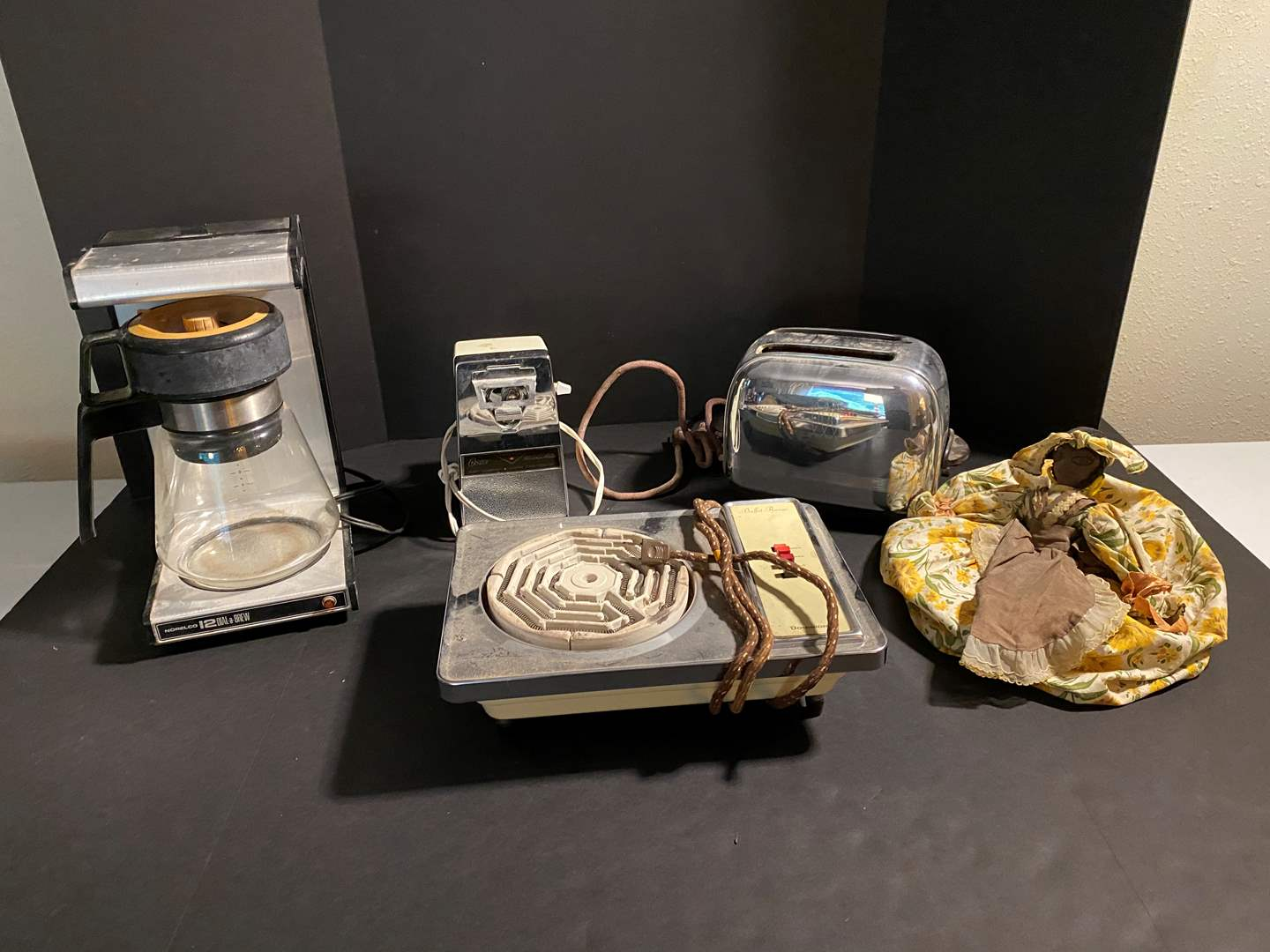 Lot # 161 - Vintage Appliances: Toaster, Buffet Range, Coffee Maker & Can Opener (main image)