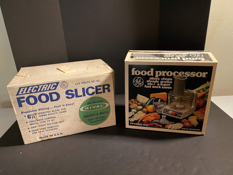 Lot # 162 - Vintage Rival Food Slicer & Vintage GE Food Processor (main image)