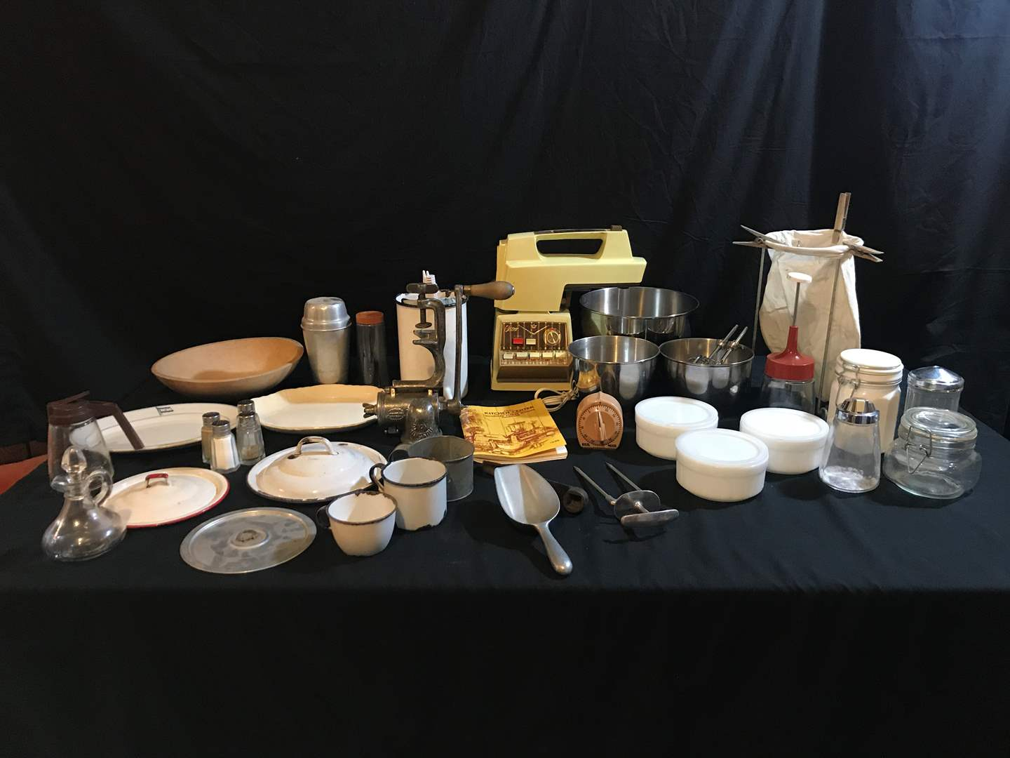 Lot # 97 - Oster Blender w/Small Bowls, Butter Dishes, Meat Grinder, Misc. Lids & More.. (main image)