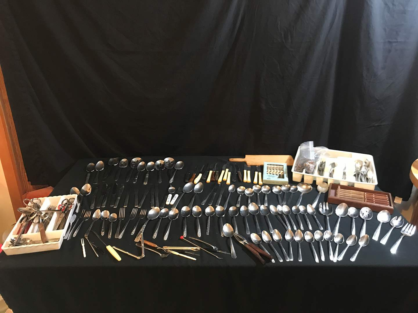 Lot # 98 - Large Selection of Flatware, Scissors & Knives (main image)