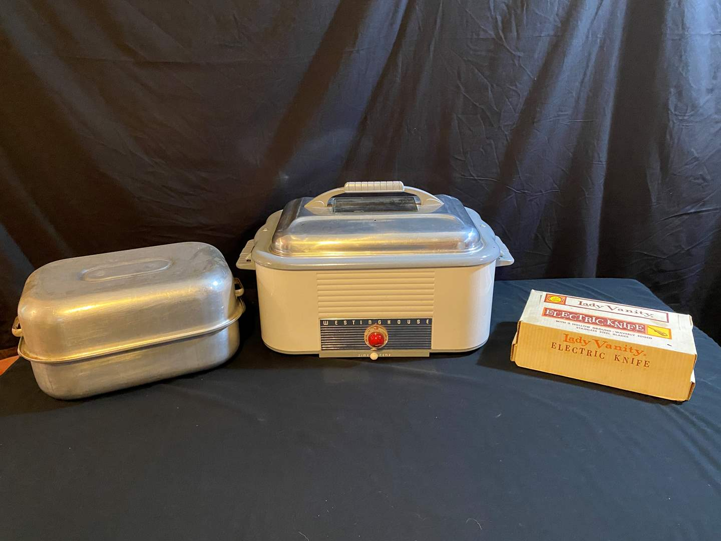 Lot # 168 - Vintage Westinghouse Electric Roaster, Lady Vanity Electric Knife & Roasting Pans (main image)