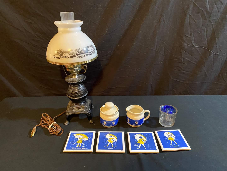 """Lot # 173 - Morton's Salt """"When it Rains it Pours"""" Decor., Vintage Pot Belly Stone Hurricane Lamp (main image)"""
