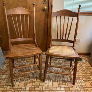 Auction Thumbnail for: Lot # 182 - 2 Antique Cane Bottom Chairs