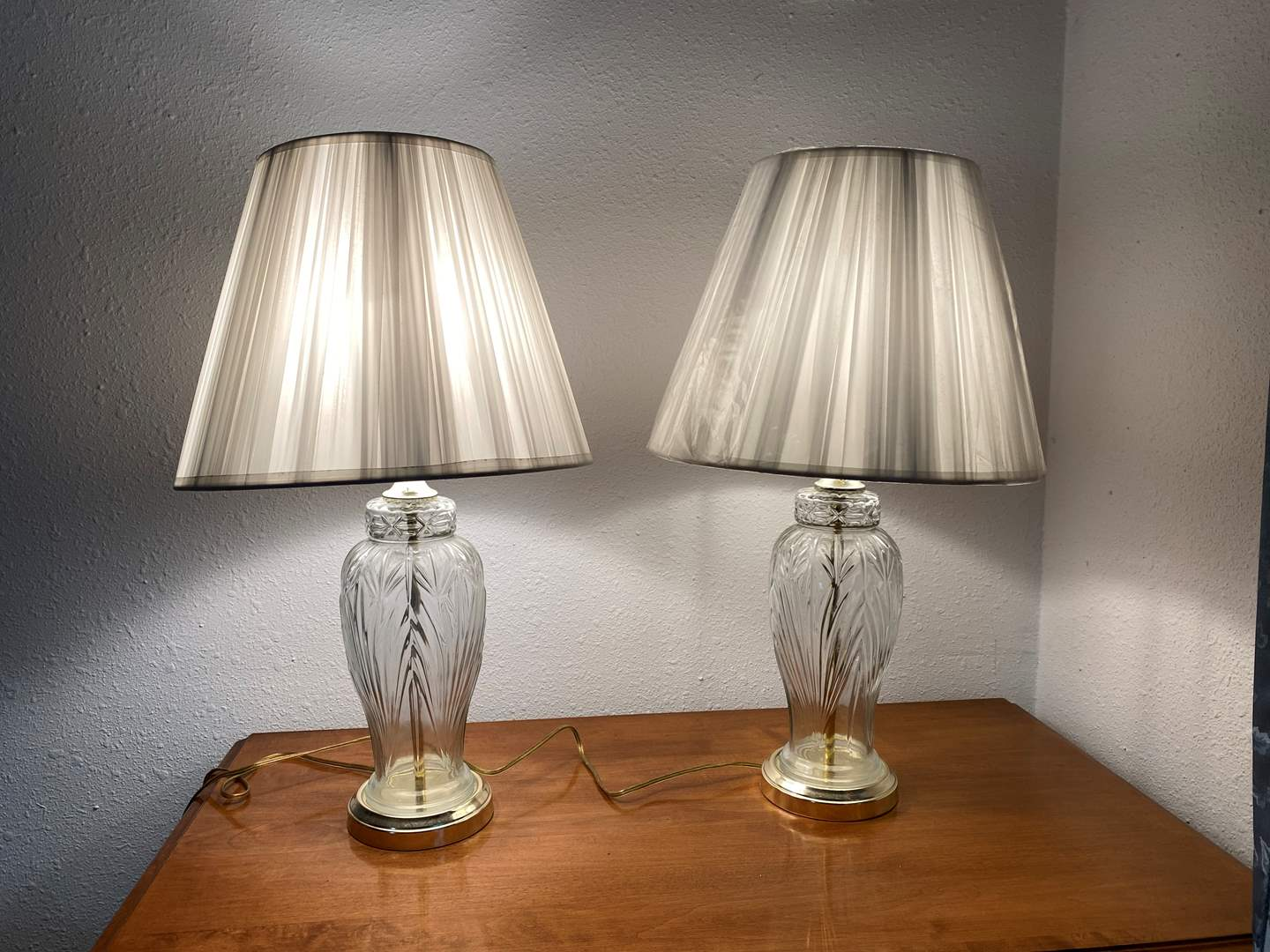 """Lot # 192 - Two Vintage Glass Lamps - 23"""" Tall  (main image)"""