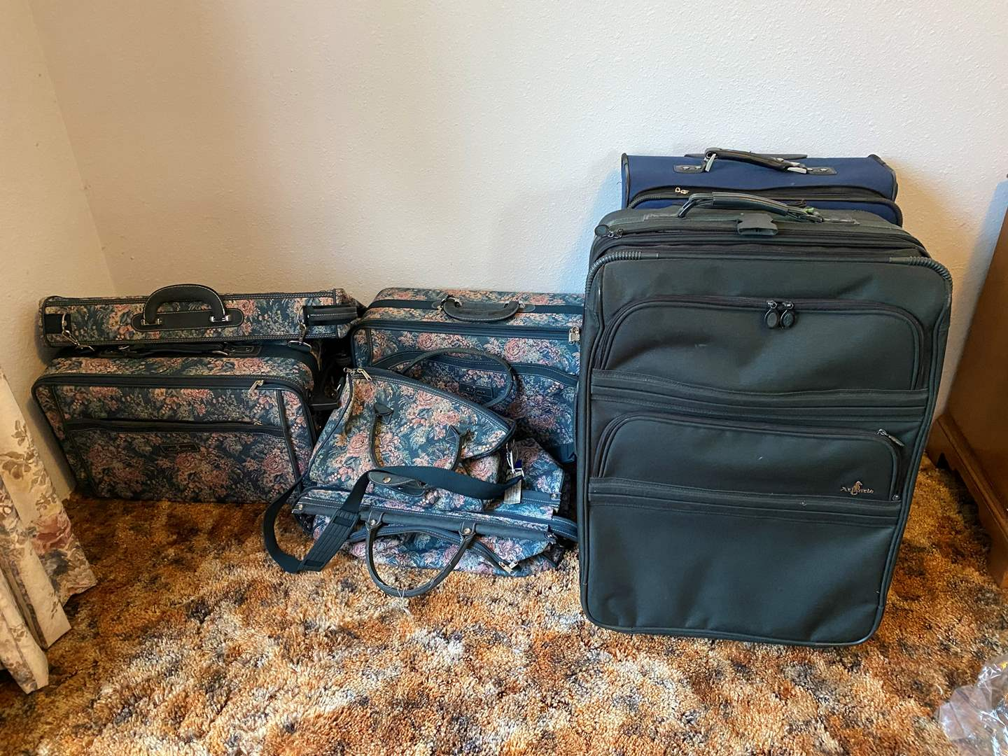 "Lot # 195 - Vintage Floral ""Atlantic Luggage"" & Two Larger Pieces of Luggage (main image)"