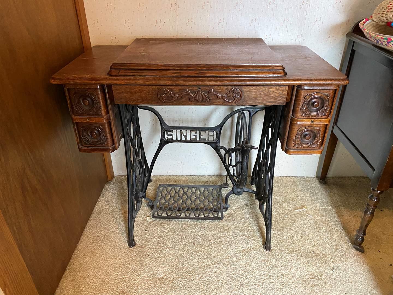 Lot # 218 - Antique Singer Treddle Sewing Cabinet (main image)