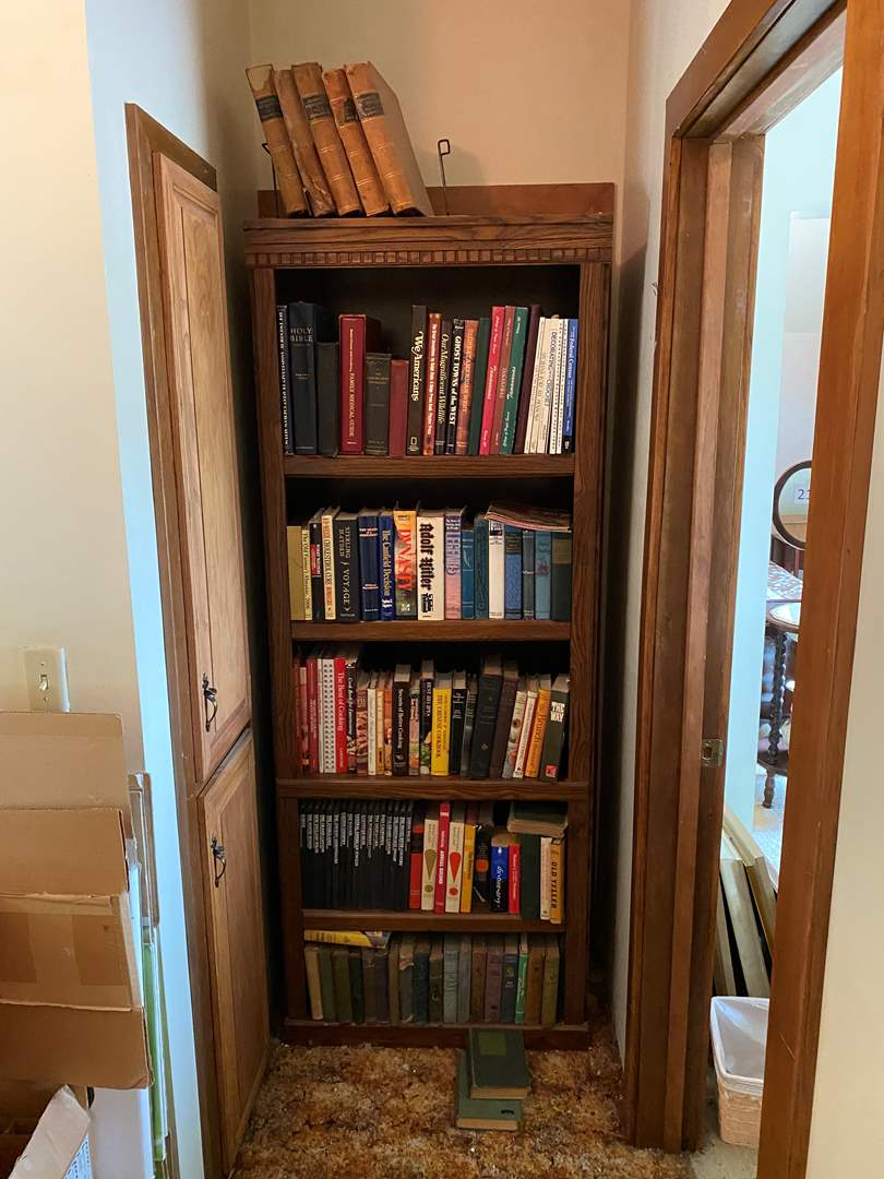 Lot # 231 - Collection of Vintage Books w/Book Shelf - Zane Grey, Rex Jardin, Caldwell & More.. (main image)