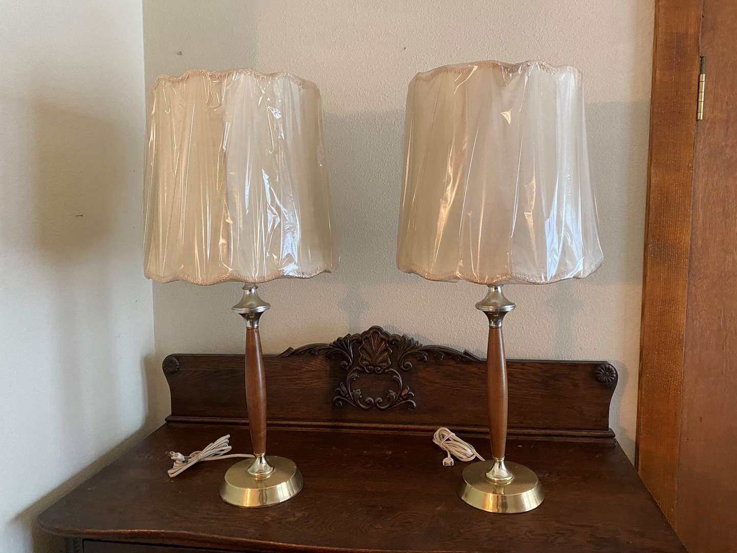 """Lot # 250 - 2 Mid-Century Style Lamps - 27"""" Tall  (main image)"""