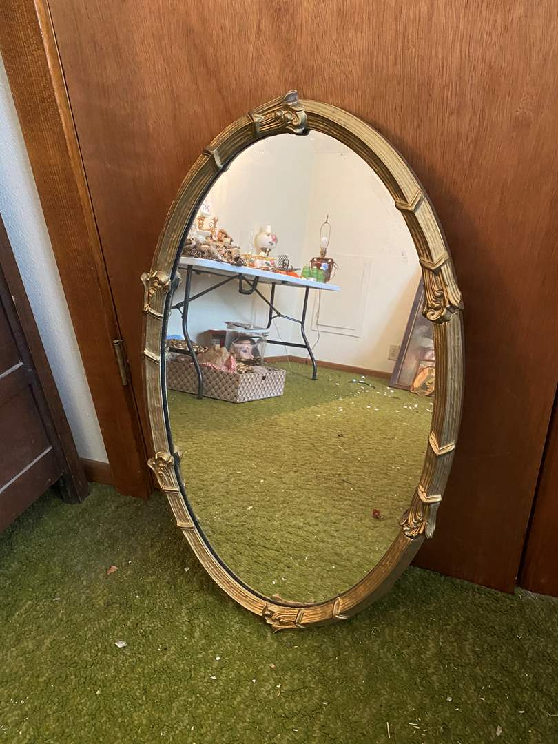 Lot # 253 - Vintage Wood Gold Toned Mirror (main image)