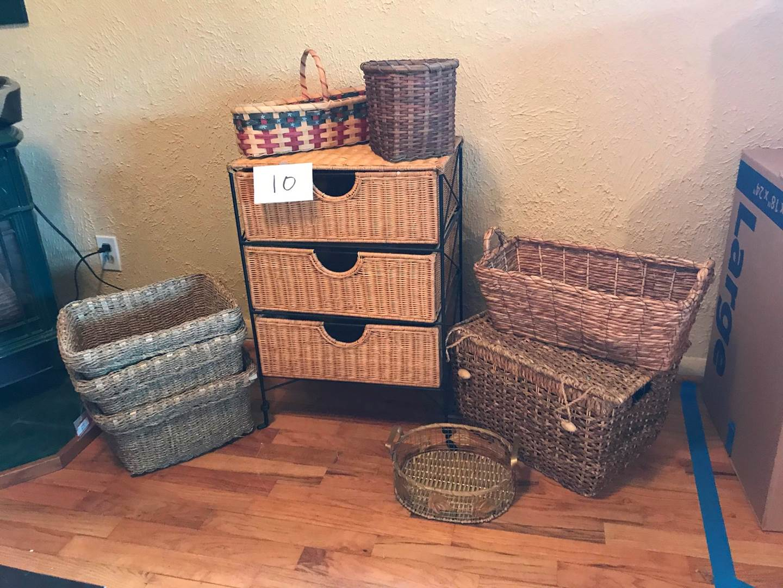 Lot # 10 - Wicker & Metal Storage rack- 18x12x26hi. Grass/bamboo baskets, wicker baskets & more (main image)