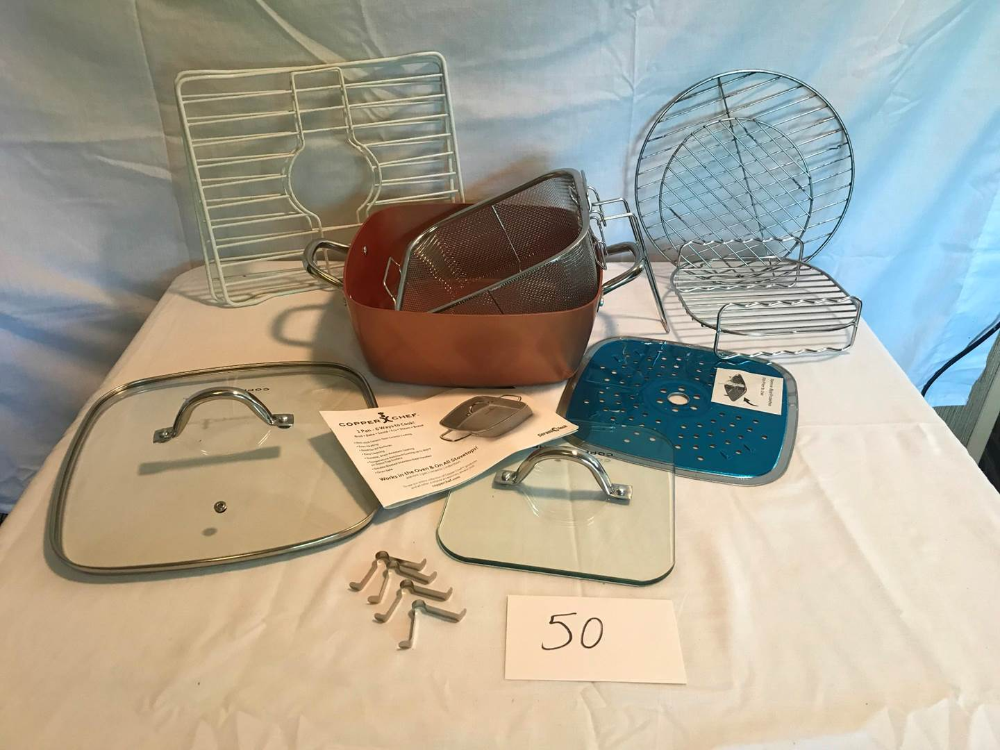 Lot # 50 - New Copper Chef pan, wire racks (main image)