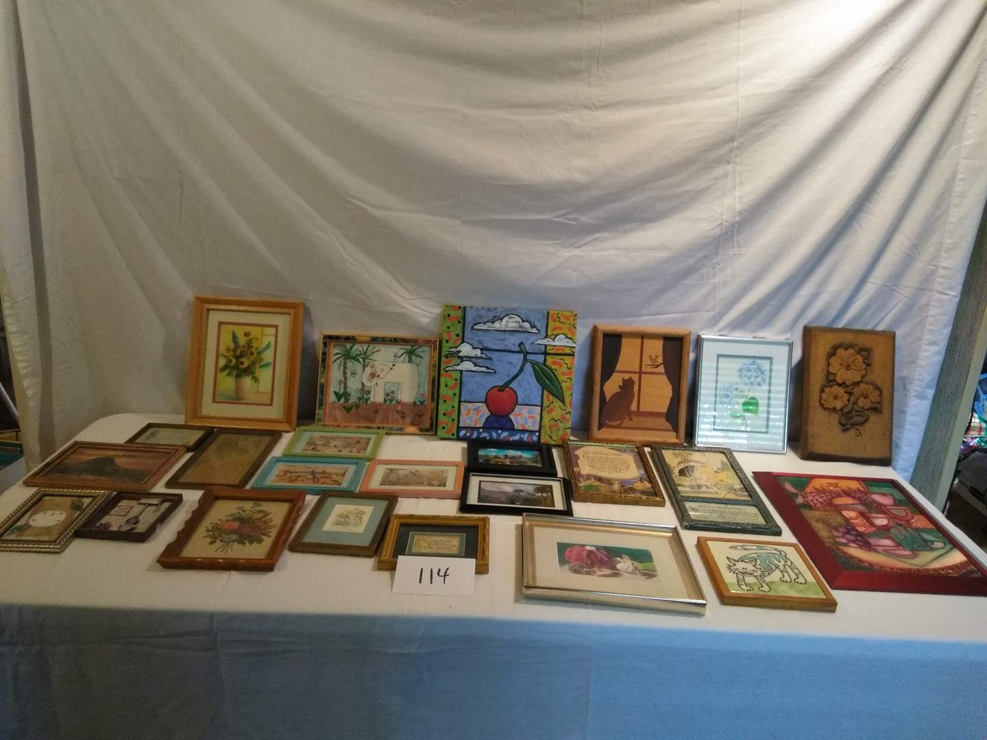 Lot # 114 - Art Lot: Paintings, vintage pics, carved wood, painted ceramic tile, various sizes, more (main image)