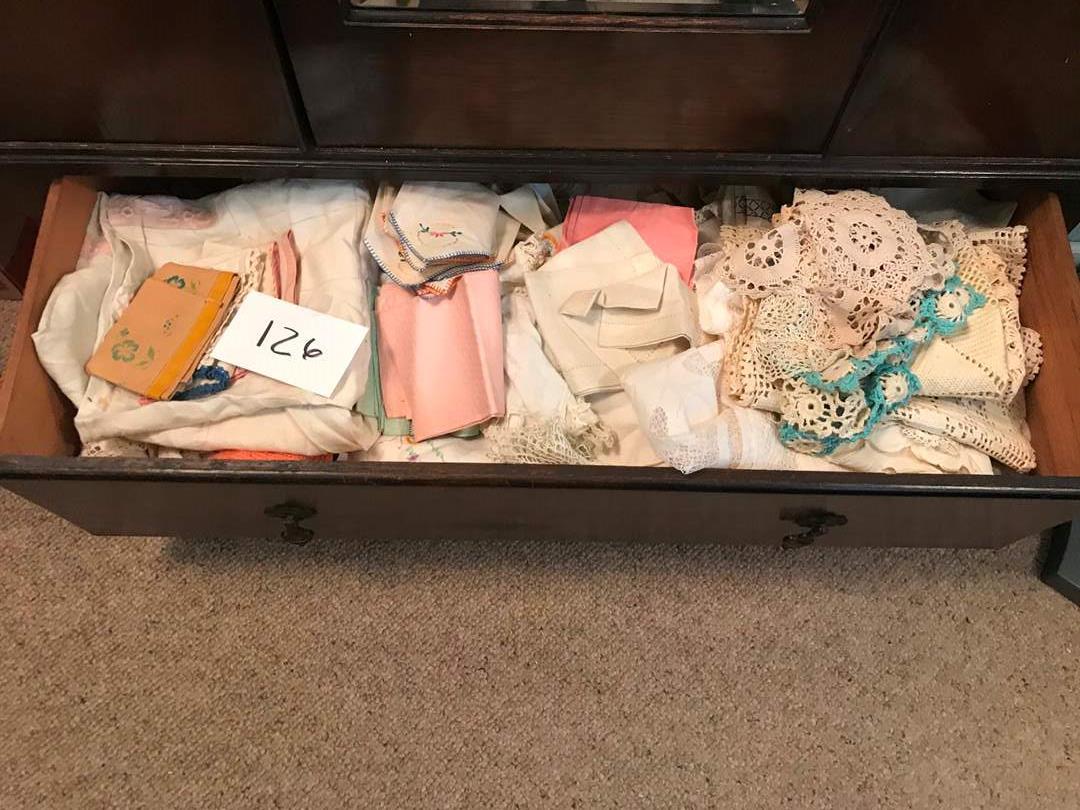 Lot # 126 - Vintage crochet tablecloths, napkins, doilies, Xstitch, napkins, tablecloths (main image)