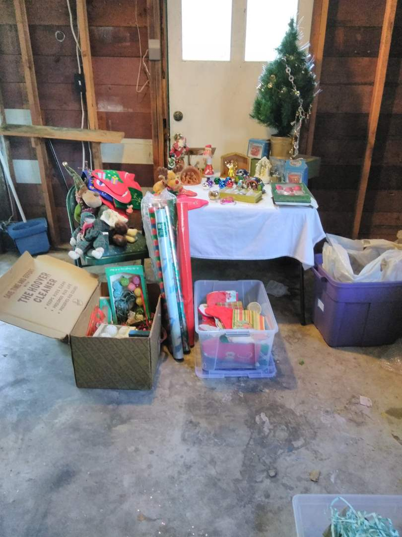 Lot # 196 - Christmas: stockings, paper/bags, fiber optic tree, vintage & modern ornaments, Nativity sets, more (main image)