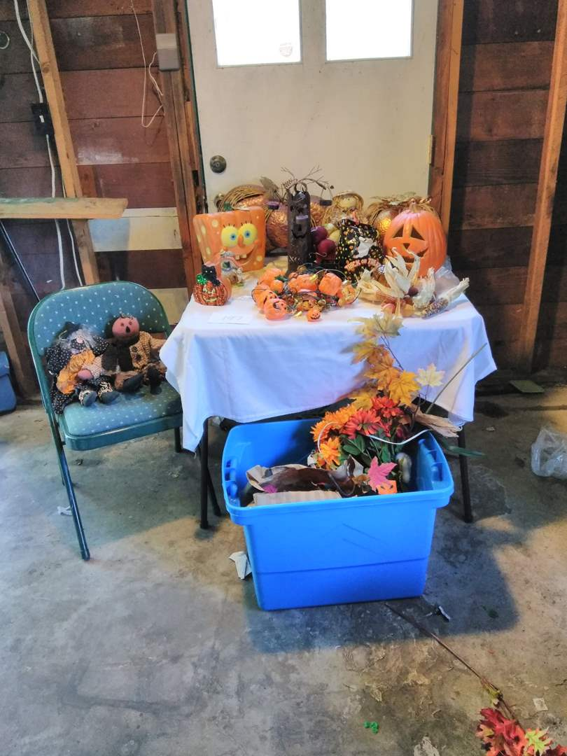 Lot # 197 - Autumn: dried flowers, tin/glass pumpkins, candle holder, lights (main image)