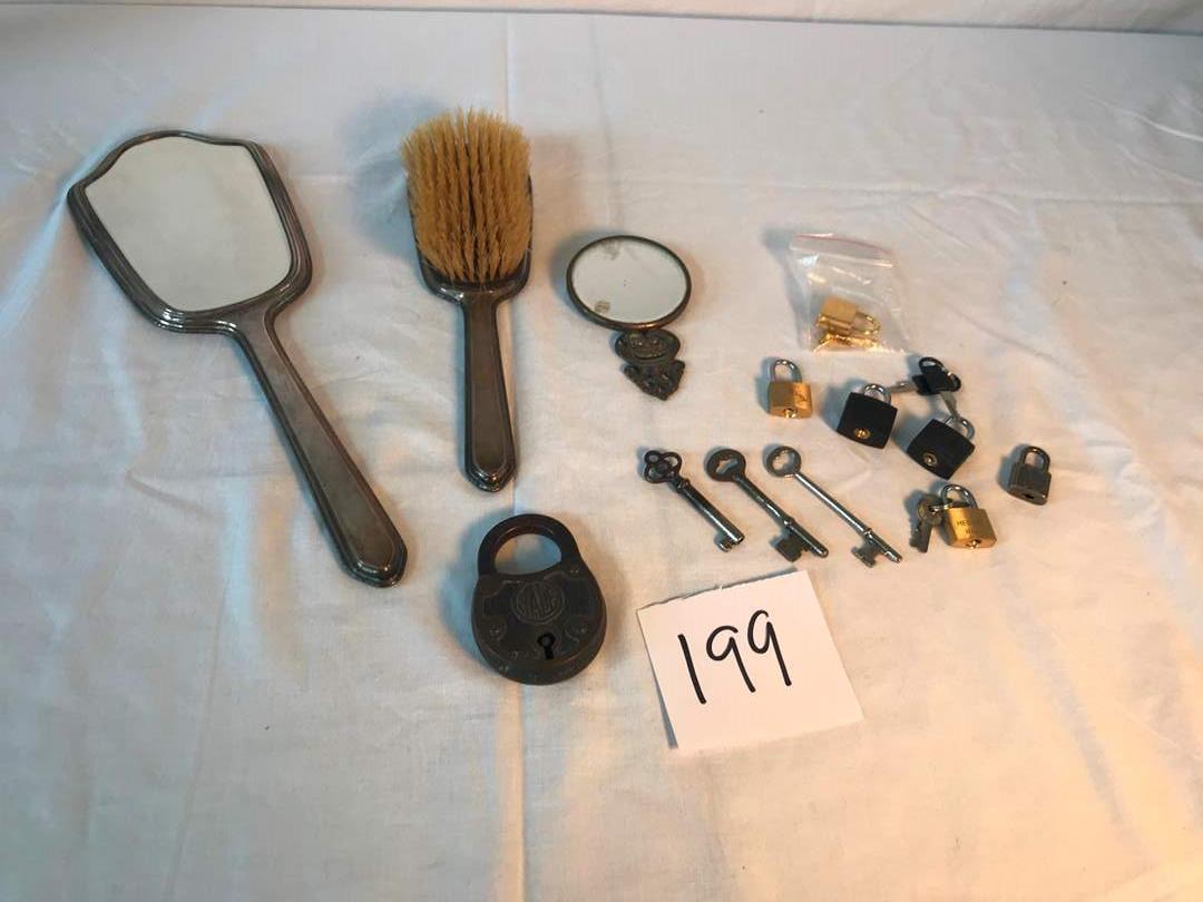 "Lot # 199 - Vintage Sterling Silver Mirror, Brush & Comb, Vintage/Antique Metal Yale Lock ""No Key"". (main image)"