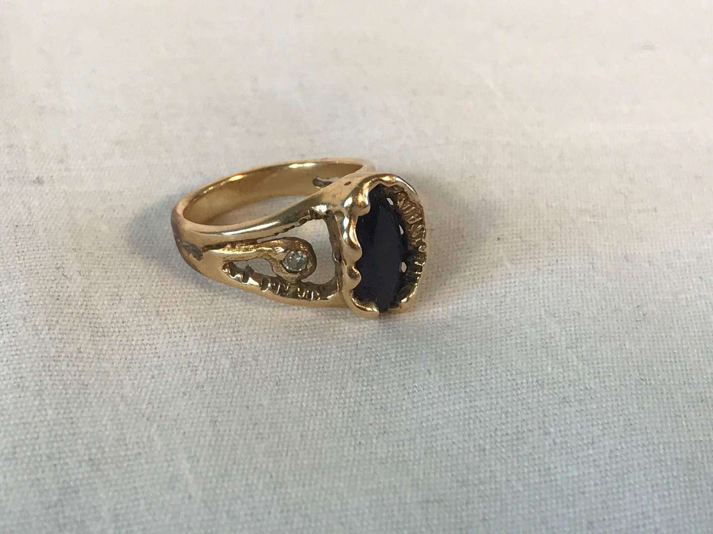 Lot # 228 - Antique 14k Gold Ring w/ Small Diamonds & Precious Stone - 6.30 grams (Tested). (main image)