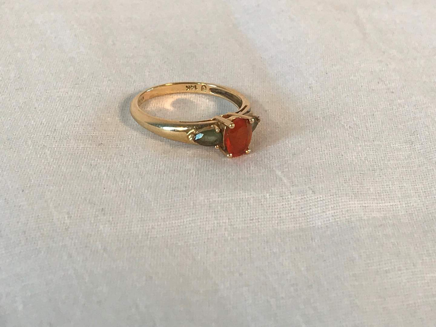 Lot # 240 - 14k Gold Ring w/ Precious Stones - 2.66 grams (Tested). (main image)