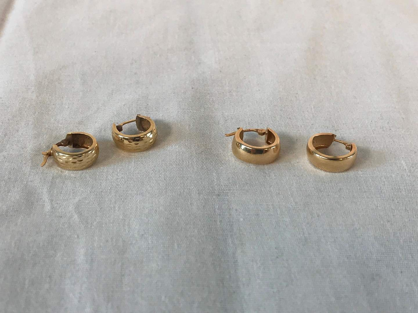 Lot # 269 - 2 Pair of 14k Gold Hoop Earrings - 1.68 grams (Tested). (main image)