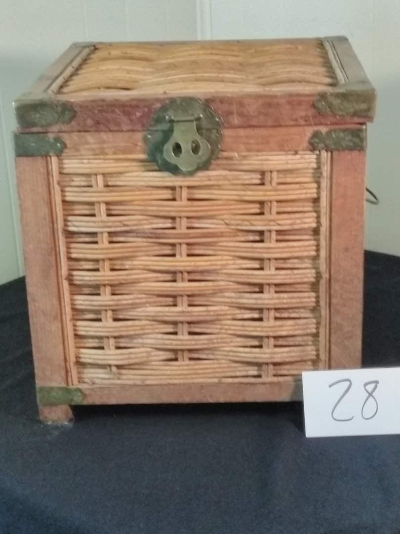 "Lot # 28 - Rattan Storage Box w/ Brass Finishes - 16"" x 16"" x 16"". (main image)"