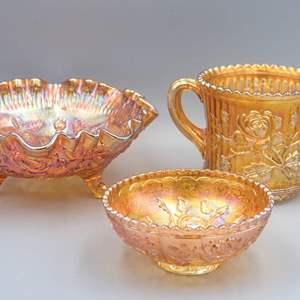 LOT 24: Lot of Rose Pattern Marigold Carnival Glass