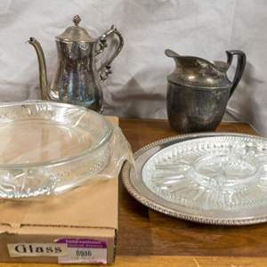 LOT 29: Lot of 4 Silver-Plated Serveware Items